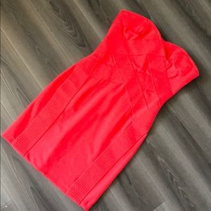 H&M red strapless bandage dress